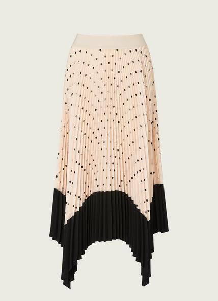 Koller Cream and Black Polka Dot Pleated Skirt