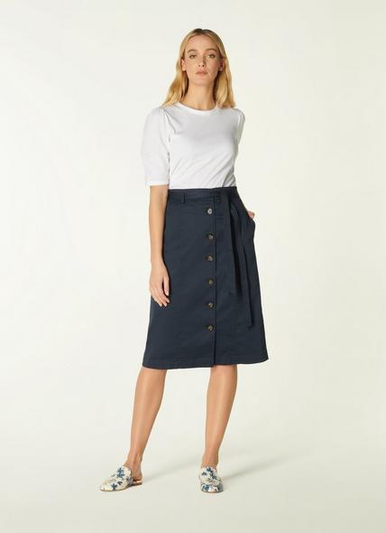 Sussex Navy Cotton Button-Through Skirt