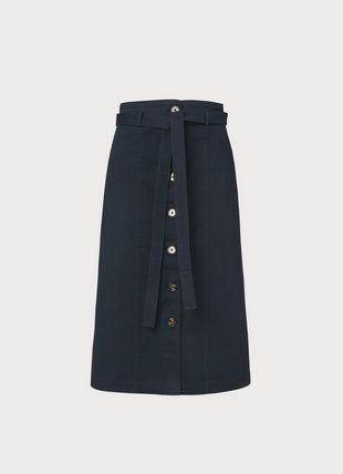Sussex Navy Cotton Button-Through Skirt