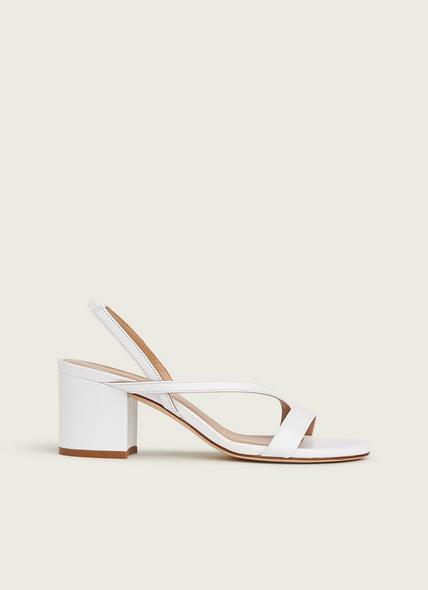 Nine White Asymmetric Block Heel Sandals
