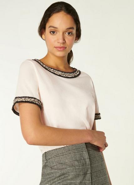 Adalyn Cream Cotton Tweed Trim T-shirt