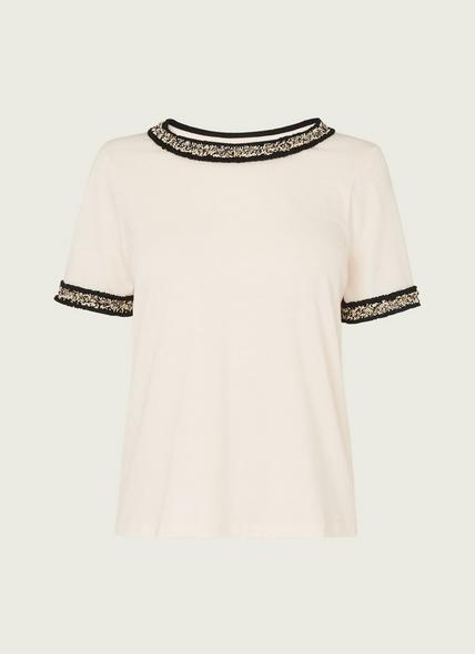 Adalyn Cream Cotton Tweed Trim T-shirt