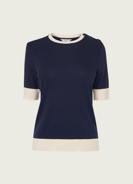 Andie Navy and Cream Jersey Top
