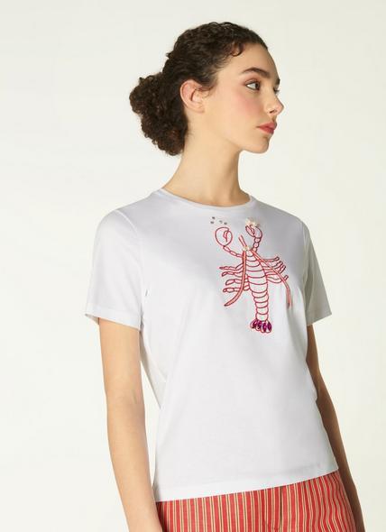 Anne Embellished Lobster Motif T-Shirt