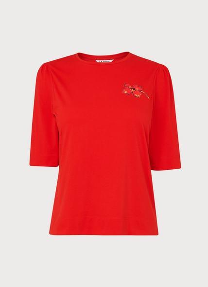 Debbie Red Cotton Poppy Print T-Shirt