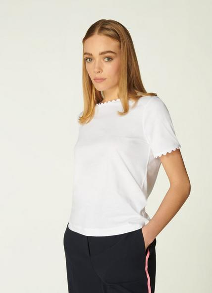 Dee White Jersey Ric Rac Trim T-Shirt