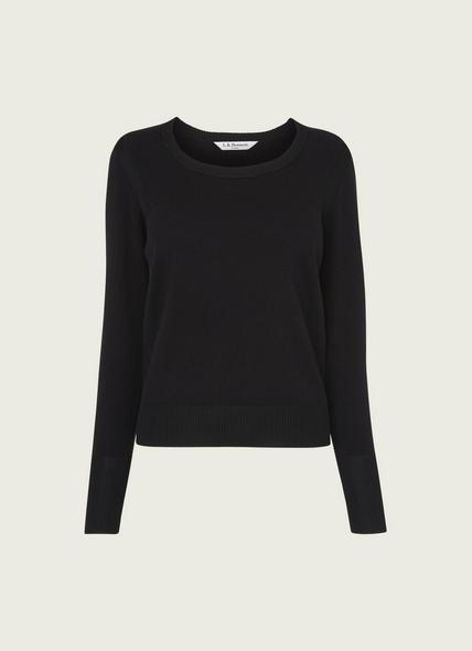 Alida Black Cotton & Merino Wool Jumper