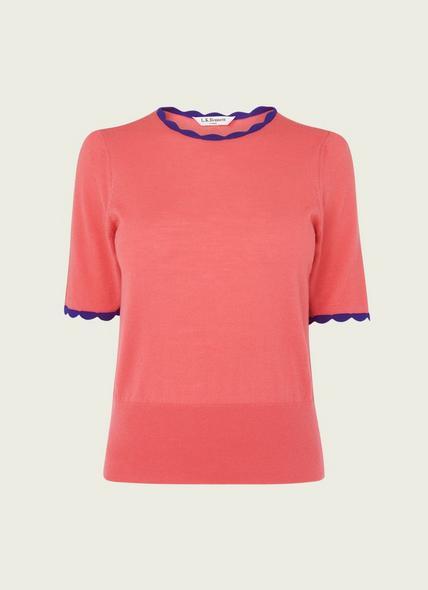 Clover Pink Merino Wool Scallop Knit Top