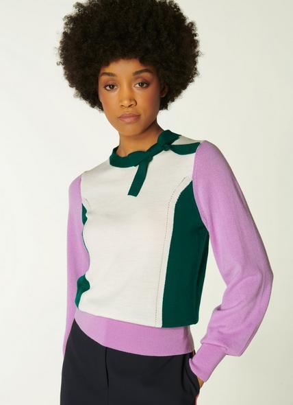Jenna Lilac, Cream & Green Merino Wool Jumper
