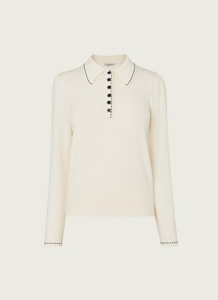 Liv Cream Cotton-Merino Wool Collared Jumper