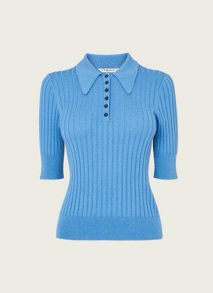 Marina Blue Ribbed Polo Shirt