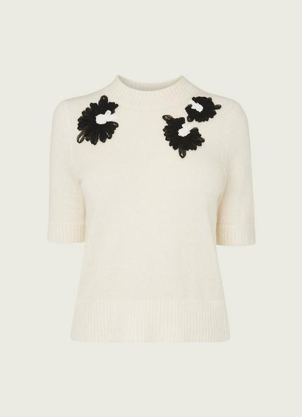 Naomi Cream Mohair-Blend Embroidered Jumper