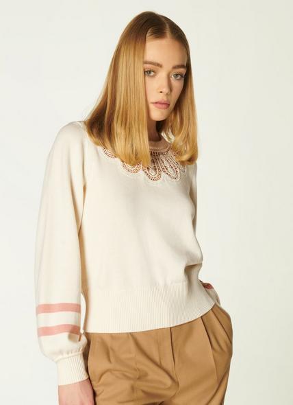 Odette Cream Merino-Cotton Lace Detail Jumper