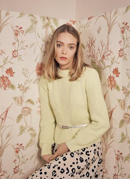 Pauline Yellow Rib Knit Cotton-Blend Jumper