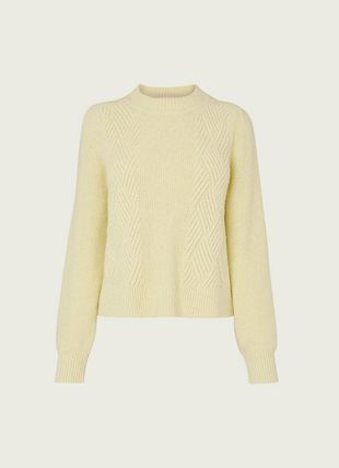 Pauline Yellow Rib Knit Cotton-Blend Jumper