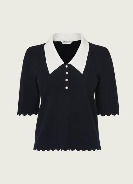 Rosie Navy Wool-Cotton Knitted Top