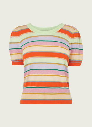 Sonya Multi Stripe Lurex Cotton Knitted Top