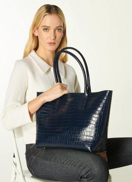 Lacey Navy Croc-Effect Leather Tote Bag