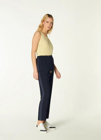 Elliot Navy Crepe Relaxed Joggers