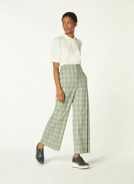 Faye Green Check Cotton-Blend Kick Flare Trousers