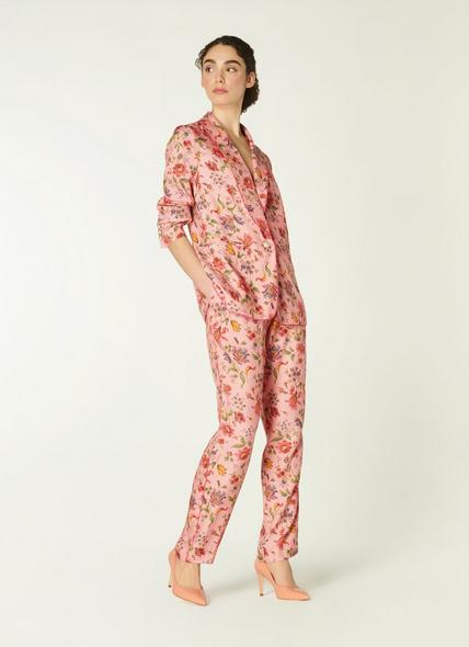Gabby Pink Romance Floral Print Eco Viscose Trousers