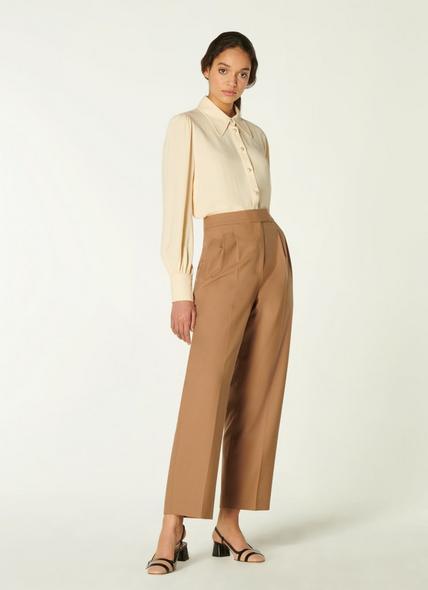 Lowe Camel Wool-Blend Pleat Front Trousers