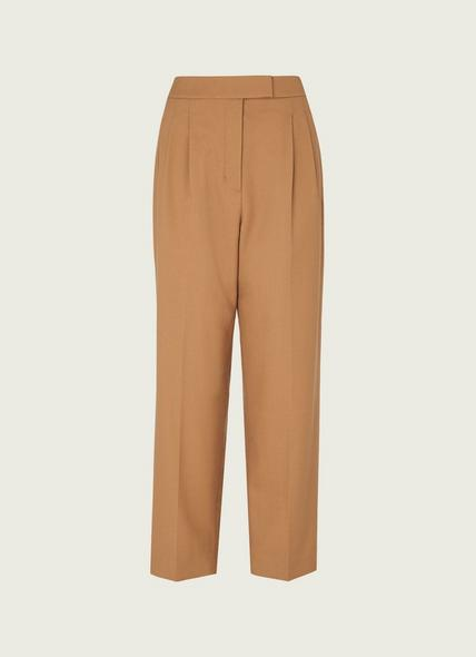 Lowe Camel Wool-Blend Pleat Front Trousers
