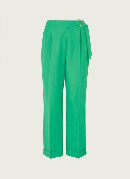 Marta Green Linen-Blend Trousers