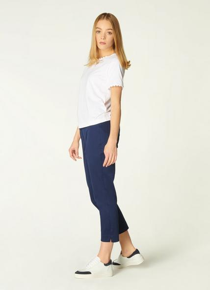 Sussex Navy Cotton Cropped Trousers