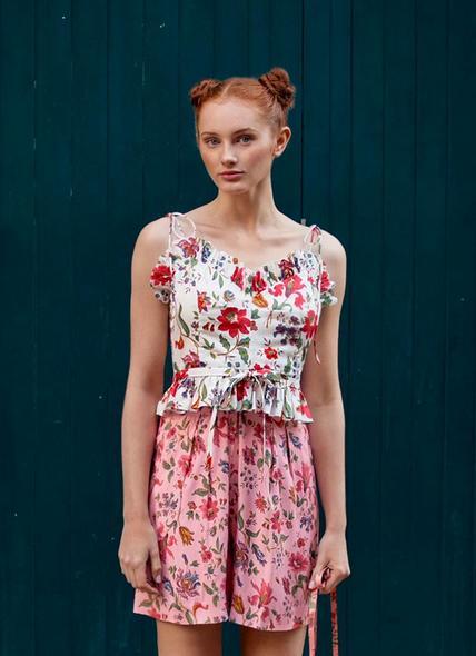 Frenchi Romance Floral Print Crop Top