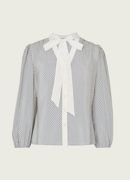 Georgia Diagonal Stripe Silk Blouse