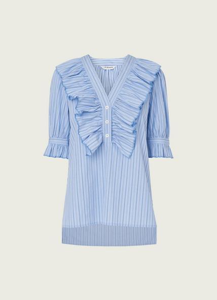 Jamois Blue Striped Cotton Blouse