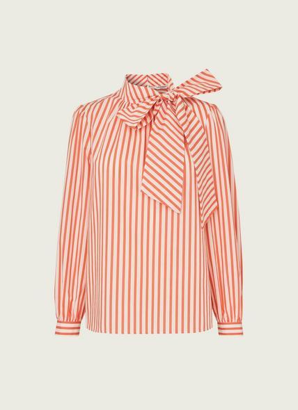 Ruby Striped Cotton Tie Neck Blouse