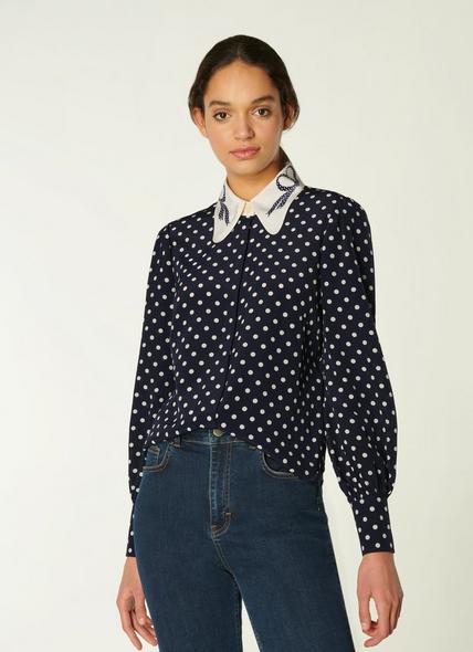 Sonya Navy & Cream Spot Print Silk Blouse