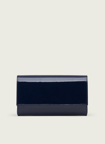 Dayana Navy Patent Leather Clutch