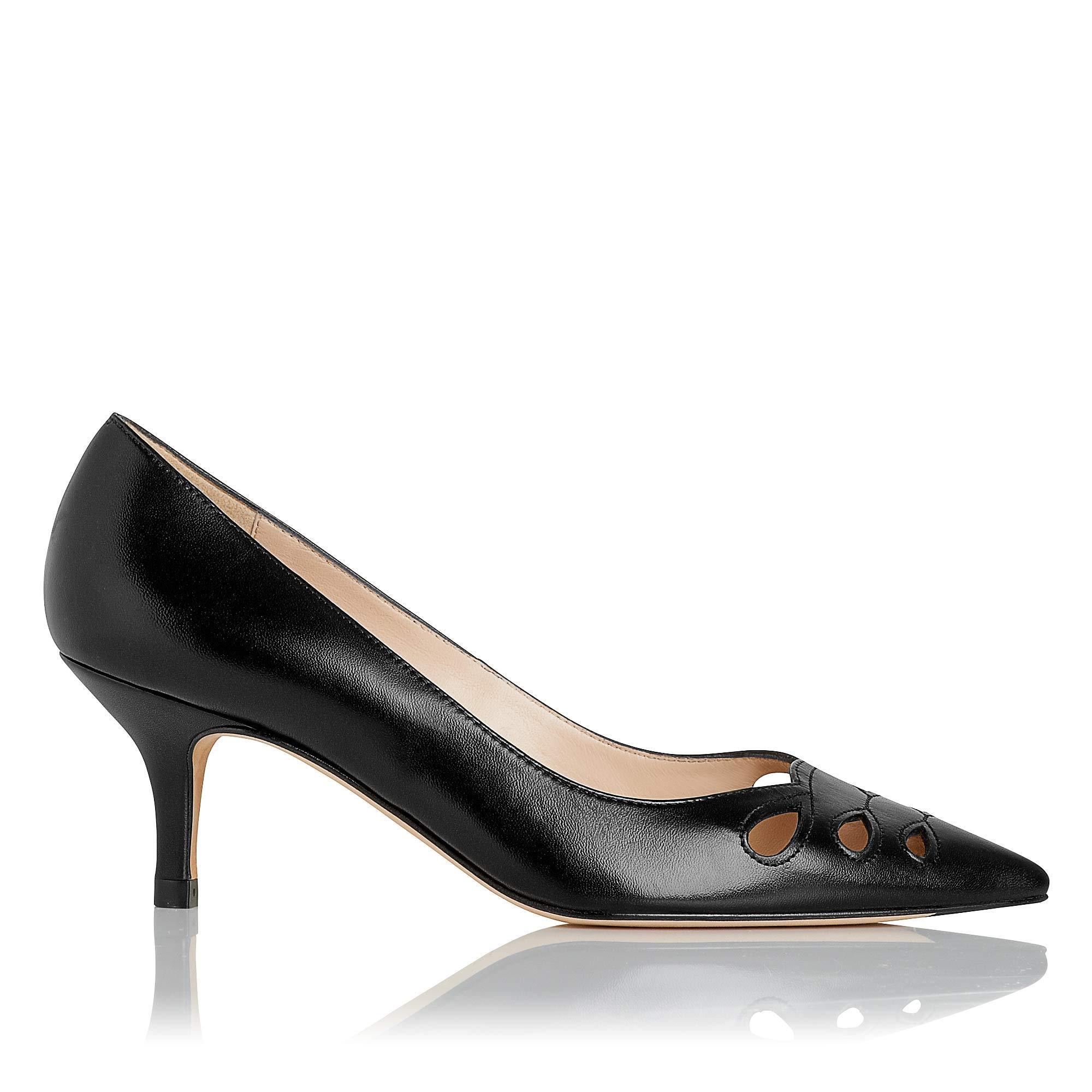 c5b67820431 Marlie Leather Cut Out Detail Point Toe Kitten Heel