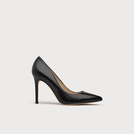 Fern Black Leather Heel