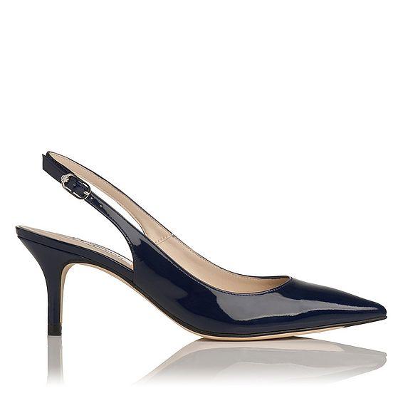 Florita Navy Patent Leather Slingback Heel