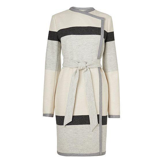 Halle Stripe Belted Coat