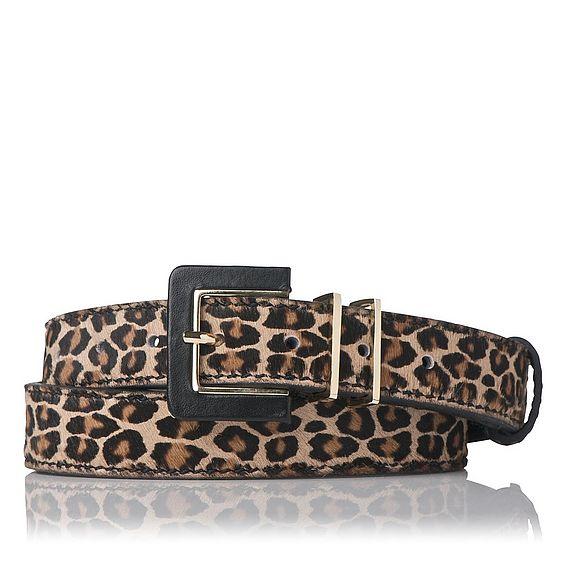 Gena Leopard Print Skinny Belt