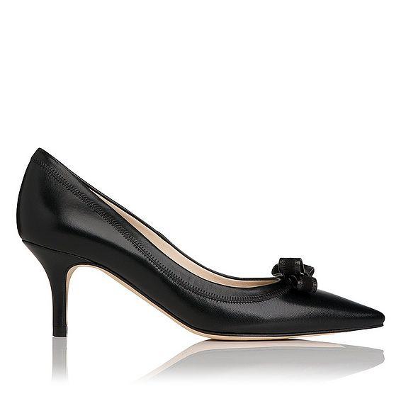 Lottie Black Leather Heel