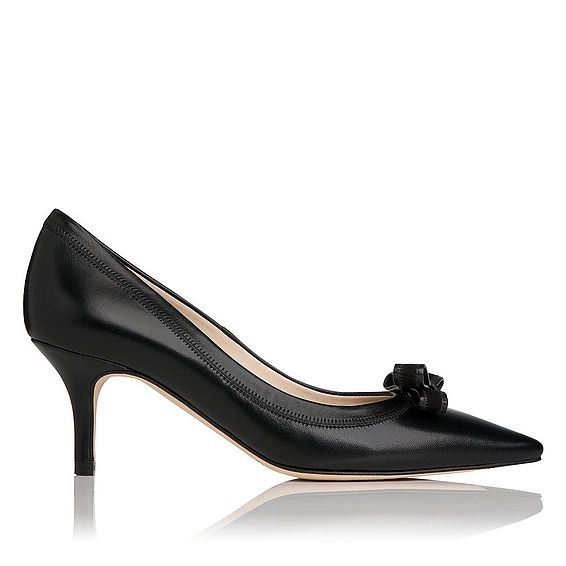 Lottie Black Leather Heel