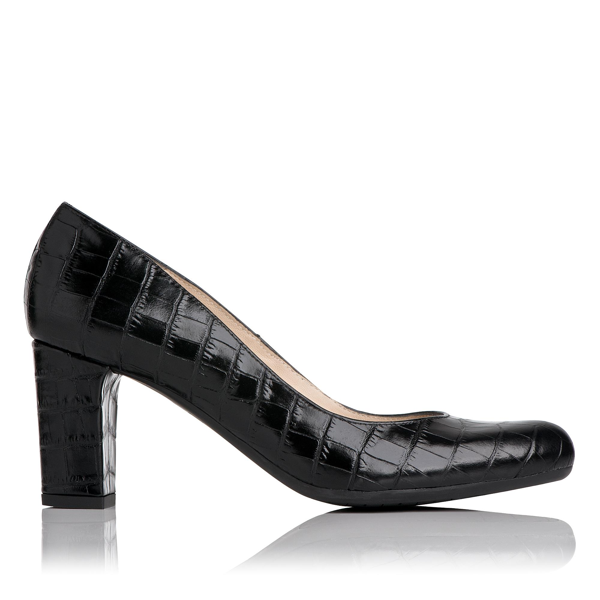 Sersha Black Croc Effect Block Heel