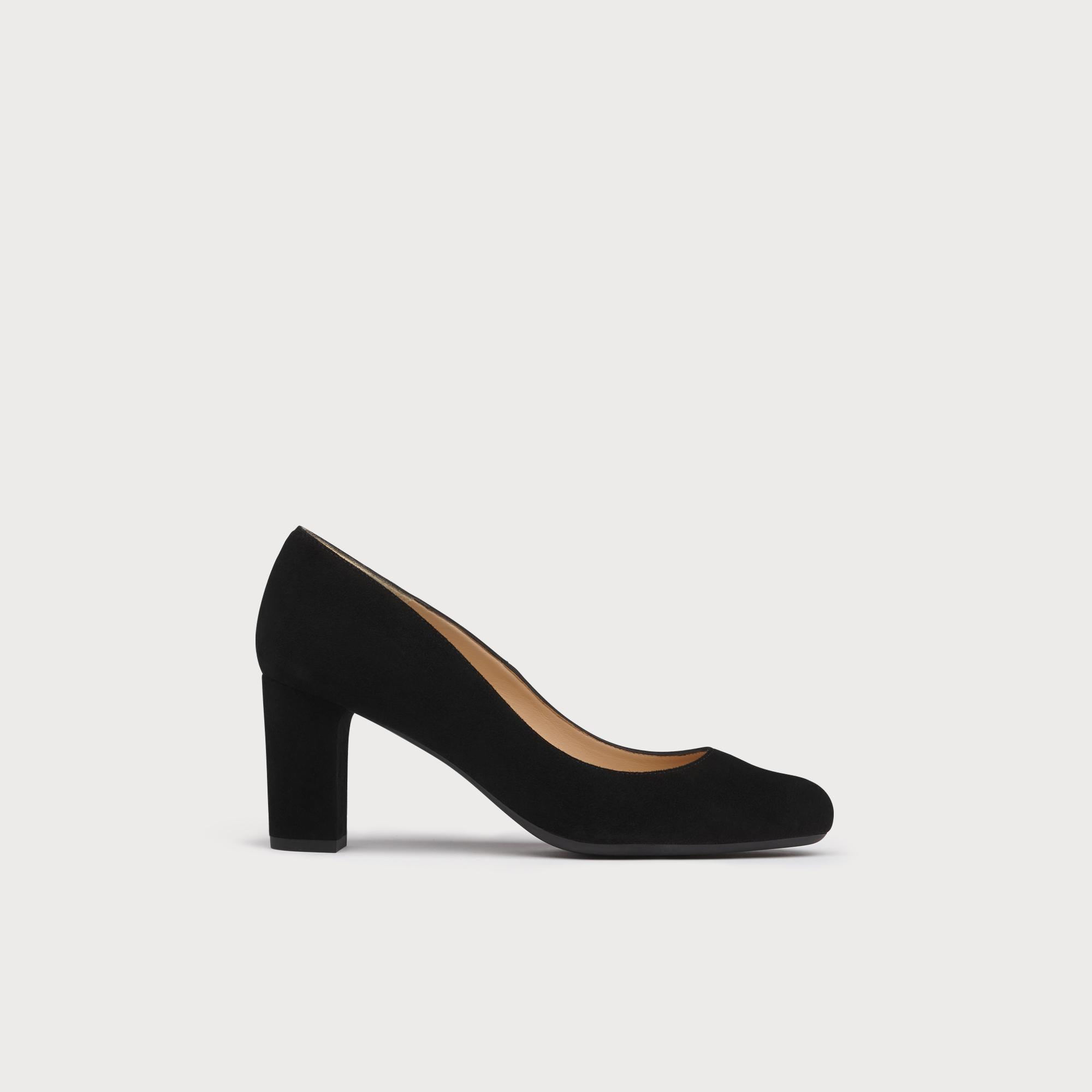 Sersha Black Suede Block Heel