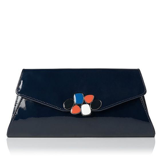 Phebe Navy Trapeze Clutch
