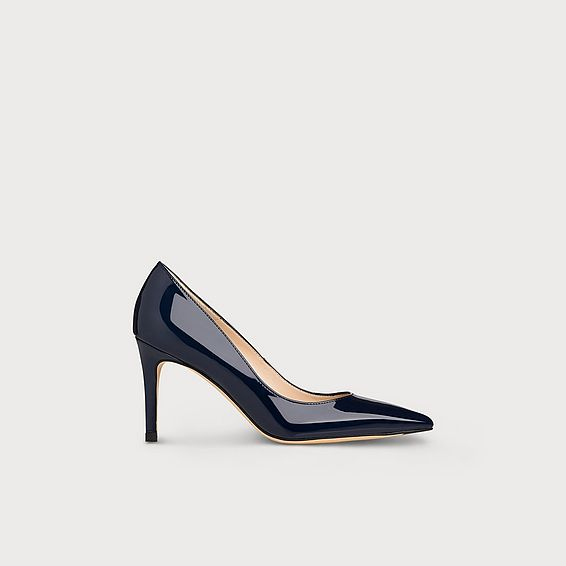 Floret Navy Patent Leather Heel