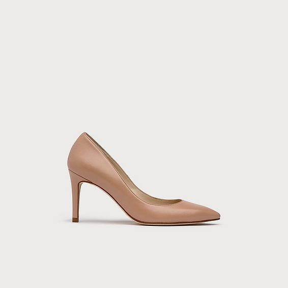 Floret Nude Leather Heels