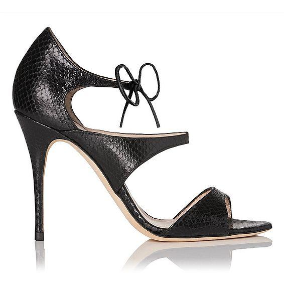 Karlie Black Snake Effect Tied Sandal