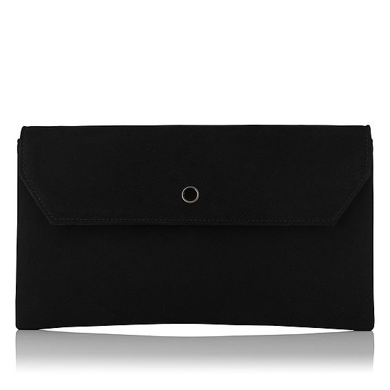 Dora Black Suede Clutch