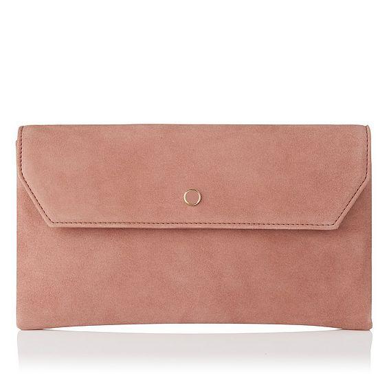 Dora Pink Suede Clutch